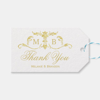 Gold wedding favour gift tags Wedding Thank You Pack Of Gift Tags