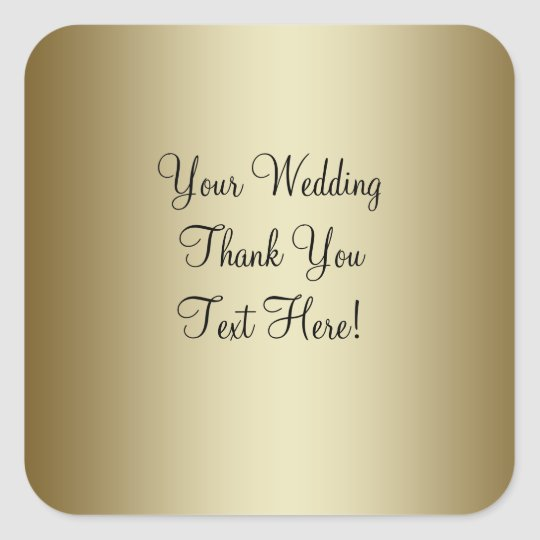 Gold Wedding Favour Thank You Sticker