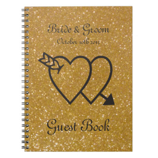 Gold wedding guest book | double heart and arrow spiral note books