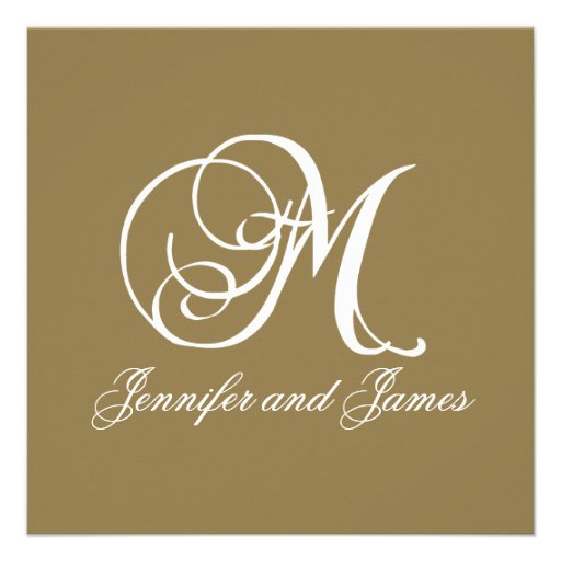 Gold Wedding Invitation Monogram M Template