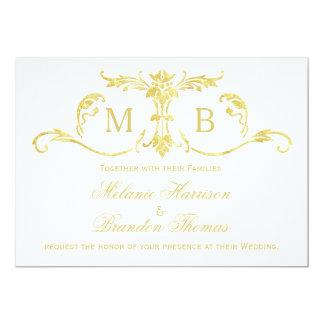 Gold wedding invitations with RSVP wedding set