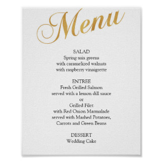 Gold wedding menu poster. Elegant dinner menu Poster