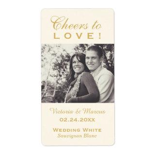 Gold Wedding Photo Wine Bottle Favor Labels