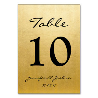 Gold Wedding Reception Table Number Cards Template