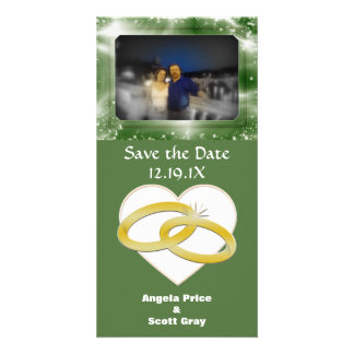 Gold Wedding Rings Heart Romantic Marriage Personalized Photo Card
