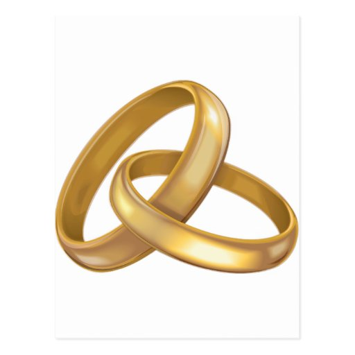 Gold Wedding Rings Intertwined Postcard