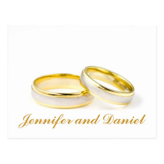 Gold Wedding Rings Save the Date Postcards