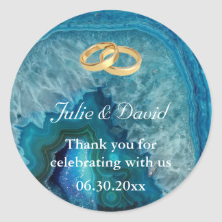 Gold Wedding Rings Thank You on Blue Agate Classic Round Sticker