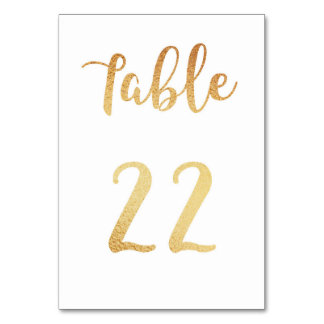 Gold wedding table number. Foil decor. Table 22 Table Card