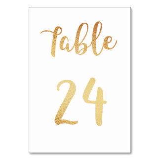 Gold wedding table number. Foil decor. Table 24 Table Card