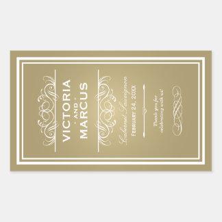 Gold Wedding Wine Bottle Monogram Favor Labels