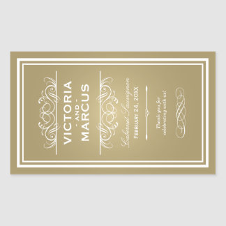 Gold Wedding Wine Bottle Monogram Favour Labels