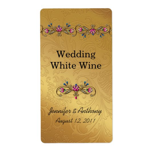 Gold Wedding Wine Labels
