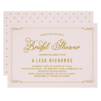 Gold Whimsical Borders Bridal Shower Invitation