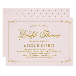 Gold Whimsical Borders Bridal Shower Invitation