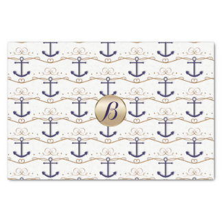 Gold White Anchors Nautical Monogram Modern Party Tissue Paper