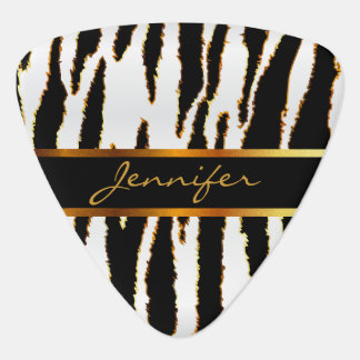 Gold, White And Black Zebra Stripes Pattern Guitar Pick