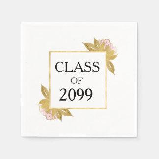 Gold, White and Pink Blush Graduation Napkin