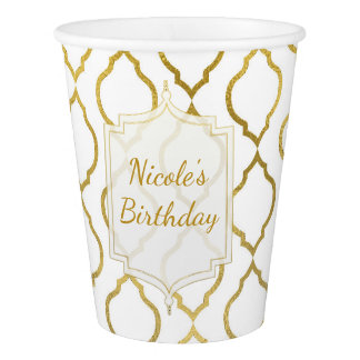 Gold & White Arabian Moroccan Glam Custom Party Paper Cup