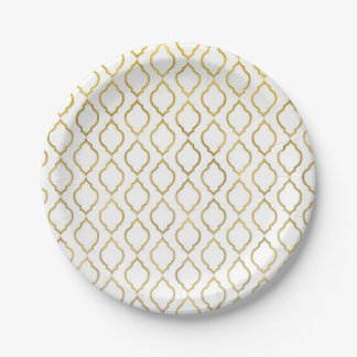 Gold & White Arabian Moroccan Glam Party Paper Plate
