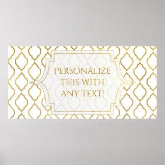 Gold & White Arabian Moroccan Theme Wedding Party Poster