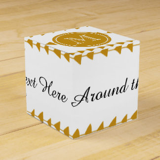 Gold White Aztec Arrows Monogram Wedding Favor Boxes
