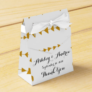 Gold White Aztec Arrows Pattern Wedding Favor Box