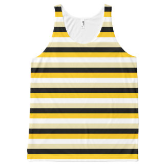 Gold, White, Beige and Black Stripes All-Over-Print Tank Top