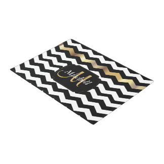 Gold, White & Black Chevron Doormat  | Zazzle