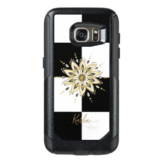 Gold white & black mandala geometric background 4 OtterBox samsung galaxy s7 case