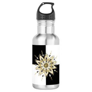 Gold white & black mandala geometric background 532 ml water bottle