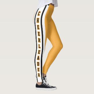 Gold, White & Black Sport Jersey Stripe - DIY Text Leggings