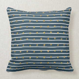 Gold White Blue Stars and Stripes Throw Pillow