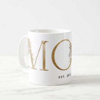 Gold & White Botanical Typography Mom Est 2018 Coffee Mug