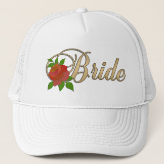 Gold & white Bride CAP with Rose