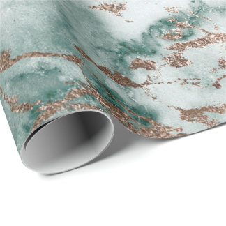 Gold White Cali Deep Green Marble Stone Brushes Wrapping Paper