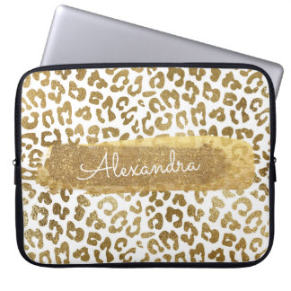 Gold & White Cheetah Print with Gold Glitter Laptop Sleeve