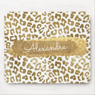 Gold & White Cheetah Print with Gold Glitter Mouse Pad