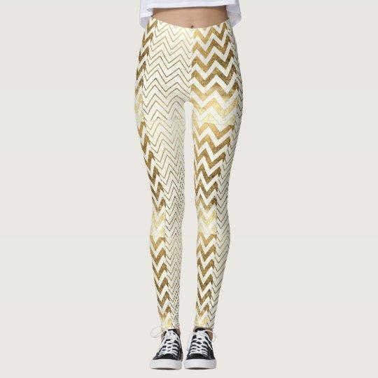 Gold & White Chevron Print Leggings