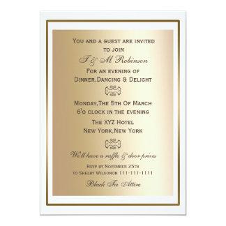 gold white corporate event invitations