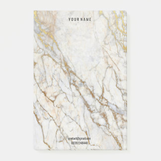 Gold White Creamy Marble Stone  Name Adress Lux Post-it Notes