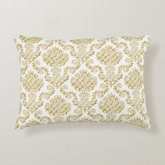 Gold & White Damask Pattern{pick your colour} Accent Pillow