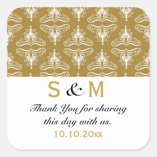 Gold White Damask Thank You Monogram Wedding Square Sticker