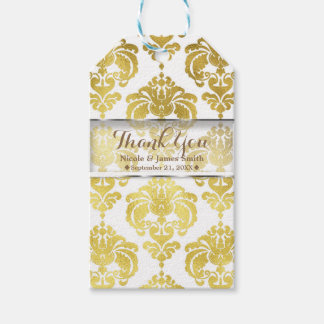 Gold & White Damask Vintage Wedding Event Favor Gift Tags