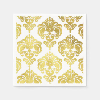 Gold & White Damask Vintage Wedding Event Party Disposable Napkins
