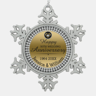 Gold & White Diamonds 50th Wedding Anniversary Pewter Snowflake Ornament