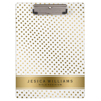 Gold & White Dotes Geometric Pattern Clipboards