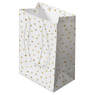 Gold White Dots Medium Gift Bag
