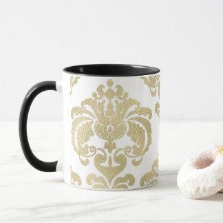 Gold & White Elegant Chic Damask Pattern Mug