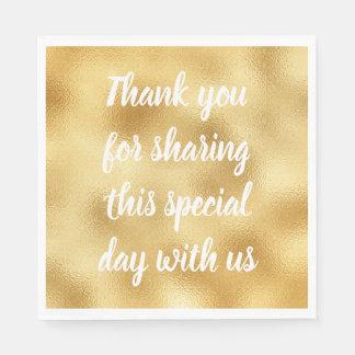 Gold & White Elegant Thank You Wedding Party Glam Disposable Napkin